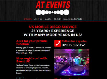 AT Events DJ Website