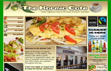 screen shot of the Karmic Cafe website