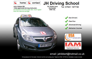 screen shot of the jhdriving website