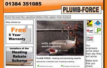 screen shot of the plumbforce1 website