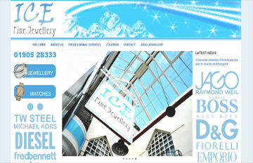 screen shot of the Ice Fine Jewellery  website