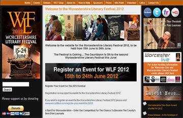 screen shot of the Worcestershire Literary Festival website